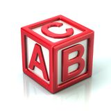 Red cube with letters A, B and C. 3d illustration on white background royalty free illustration