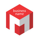 Logo red cube. Red cube logo with the letter M Stock Photos