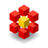 Red cube logo with yellow segments. Red cubes 3D logo with yellow segment Royalty Free Stock Image