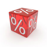 Red cube with percents Stock Image