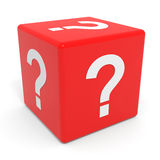 Red cube with question mark. Stock Images