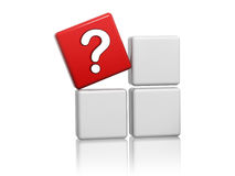 Red cube with question-mark sign on boxes. 3d red cube with question-mark sign on grey boxes Stock Photos