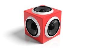 Red cube speaker Stock Images
