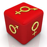 Red cube with the symbols of biological gender of organisms Stock Photo