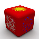 Red cube with symbols of weather Stock Photos