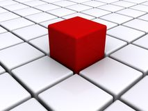 Red cube on white grid. Three dimensional illustration of red cube on top of white cubic grid Royalty Free Stock Photography