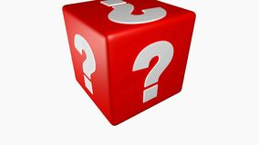 Red cube with question marks is rotating isolated on white background - 3D rendering video