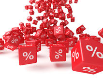 Red cubes. With percent sign Stock Photos