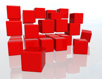 Red Cubes. Over a white background Royalty Free Stock Image