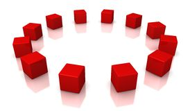 Red cubes. On a white background Stock Image