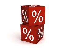 Red cubes. With white percent signs on sides Stock Photo
