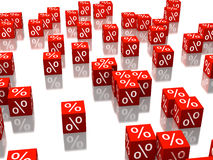 Red cubes. With percent signs on sides Royalty Free Stock Images