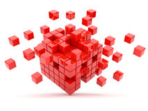 Red cubes 3D. Isolated. On white background Royalty Free Stock Photo