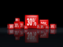 Red cubes. With percentage sign Royalty Free Stock Photos