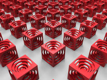 Red cubes abstract background Stock Image