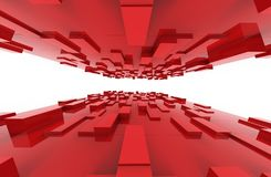 Red cubes abstract background pattern. 3d illustration Royalty Free Stock Image