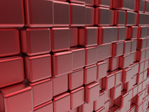 Red cubes abstract banner. 3D render illustration of a red cubes abstract banner Royalty Free Stock Photo