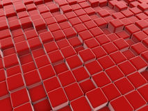 Red cubes abstract floor. 3D render illustration of a red cubes abstract floor Royalty Free Stock Images