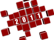 Red cubes arranged like 2011 Stock Image