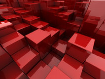 Red cubes background. Abstract 3d illustration of red cubes background Royalty Free Stock Photo