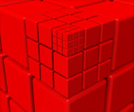 Red cubes background. 3D render illustration a red cubes background Stock Photos