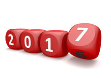 Red Cubes 2017 Changes. Cubes with year number 2017 and 2016 Stock Image