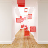 Red cubes on a corridor Stock Photo