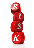 Red cubes or dice spelling RISK Stock Photo