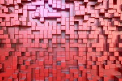 Red cubes extrusions. 3d rendering of extruded red cubes vector illustration