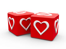 Red cubes with hearts. On a white table, represented love and valentine's day, three-dimensional rendering stock illustration