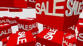 Red cubes with inscription sale on white. In backgrounds stock footage
