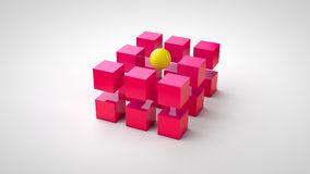 Red cubes and one yellow ball.  stock illustration