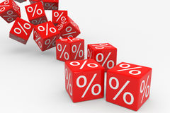 Red cubes with percents falling down Stock Photo