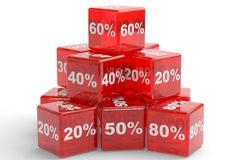 Red cubes with percents numbers. Pyramide of the red cubes with percents numbers. 3d illustration Stock Images