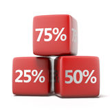Red cubes with Percents Royalty Free Stock Photography