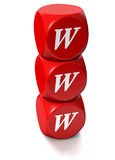 Red cubes with WWW address. Red cubes or dice with WWW letters denoting World Wide Web Stock Photography