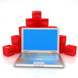 Red cubic diagram structure and laptop Stock Photo