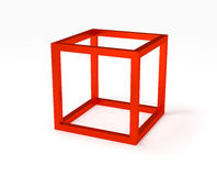 Red cubic frame structure Royalty Free Stock Image
