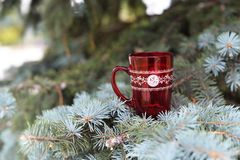Red cup. Beautiful red cup with pattern in the New Year on the Christmas tree Stock Photos