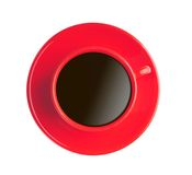 Red cup with black coffee isolated on white Royalty Free Stock Image