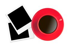 Red cup with black coffee and old photo cards isolated on white Stock Photography
