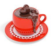 Red cup of chocolate 3d rendering Royalty Free Stock Images