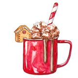 Red Cup of cocoa with marshmallows royalty free illustration