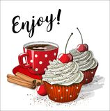 Red cup of coffe with two cupcakes and four cinnamon sticks, illustration. Red cup of coffe with two cupcakes with white cream and red paper cup, and four Stock Photos