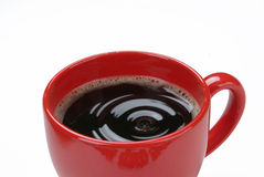 Red Cup Of Coffee. With waves royalty free stock images