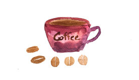 Red cup of coffee. Red cup coffee with coffee beans on white background , watercolor hand painted royalty free illustration