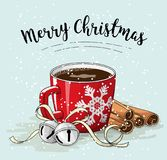 Red cup of coffee with cinnamon and jingle bells, christmas illustration. Red cup of coffee with cinnamon and jingle bells, with text Merry Christmas, vector Royalty Free Stock Photos