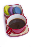 Red cup of coffee and colorful Biscuit isolated on white backgro Royalty Free Stock Photos