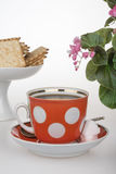 Red cup of coffee French crackers Stock Photography