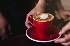 Red cup coffee hot drink aroma , coffee heart stock photos